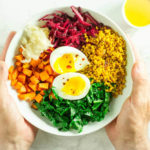 Comfort Bowl with Spicy Turmeric Cauliflower Rice, Sweet Potatoes, and Greens | www.savorylotus.com