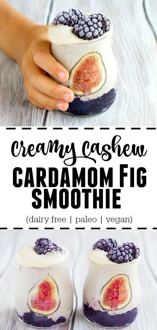Creamy Cashew Cardamom Fig Smoothie (dairy free, paleo, vegan) - www.savorylotus.com