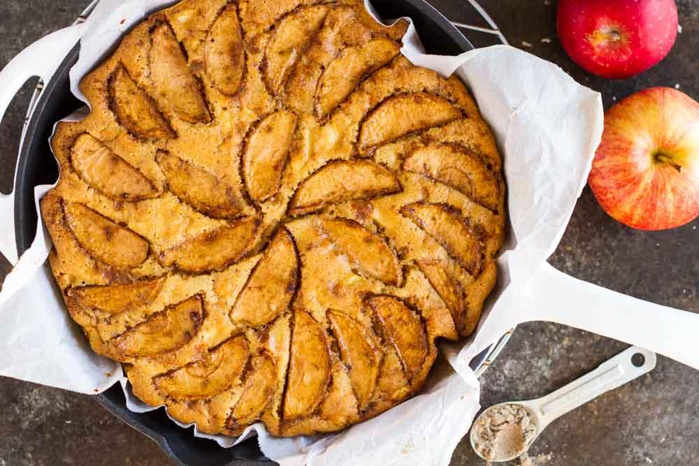 Cardamom Apple Cake in white skillet