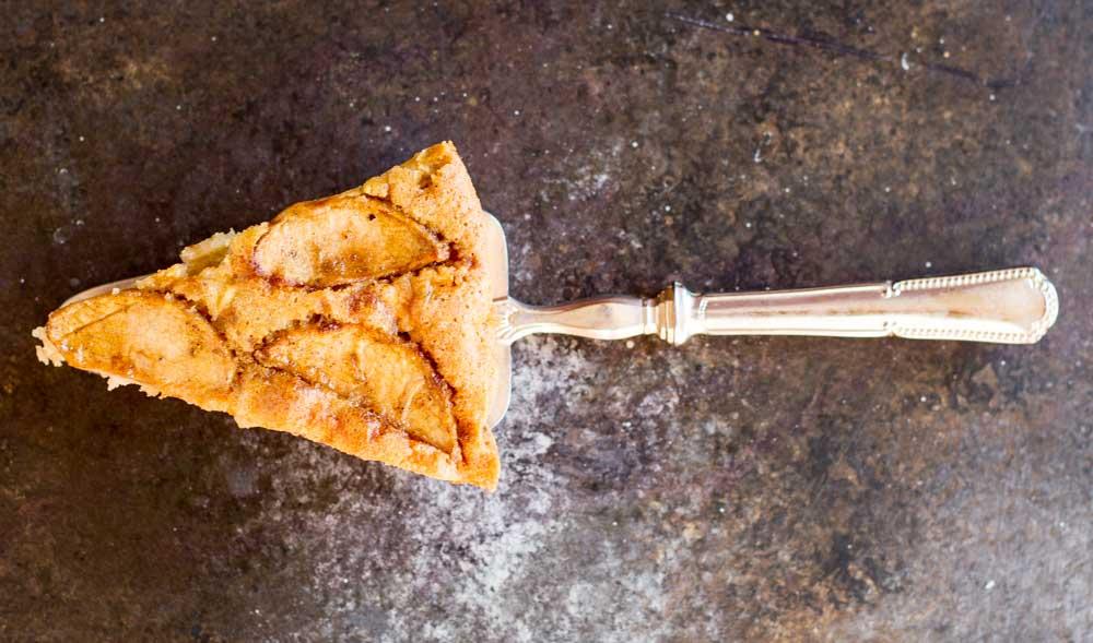 close up of a slice of Cardamom Apple Cake