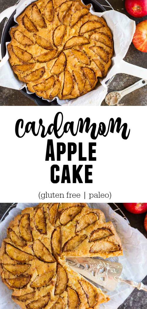 Cardamom Apple Cake in white cast iron skillet