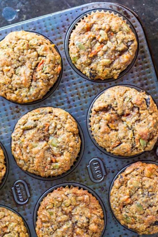 4 breakfast muffins in a muffin tin