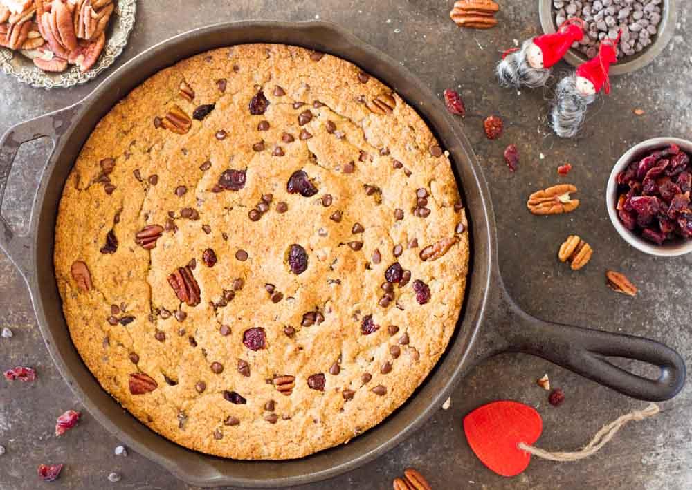 Chocolate Cranberry Pecan Skillet Cookie (gluten free) \\ www.savorylotus.com