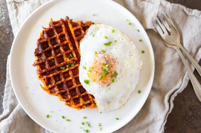 Flourless Savory Sweet Potato Waffles