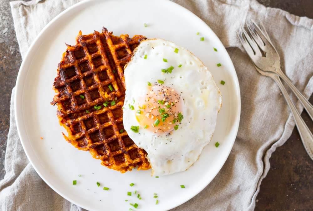 Flourless Savory Sweet Potato Waffles (gluten free) | www.savorylotus.com