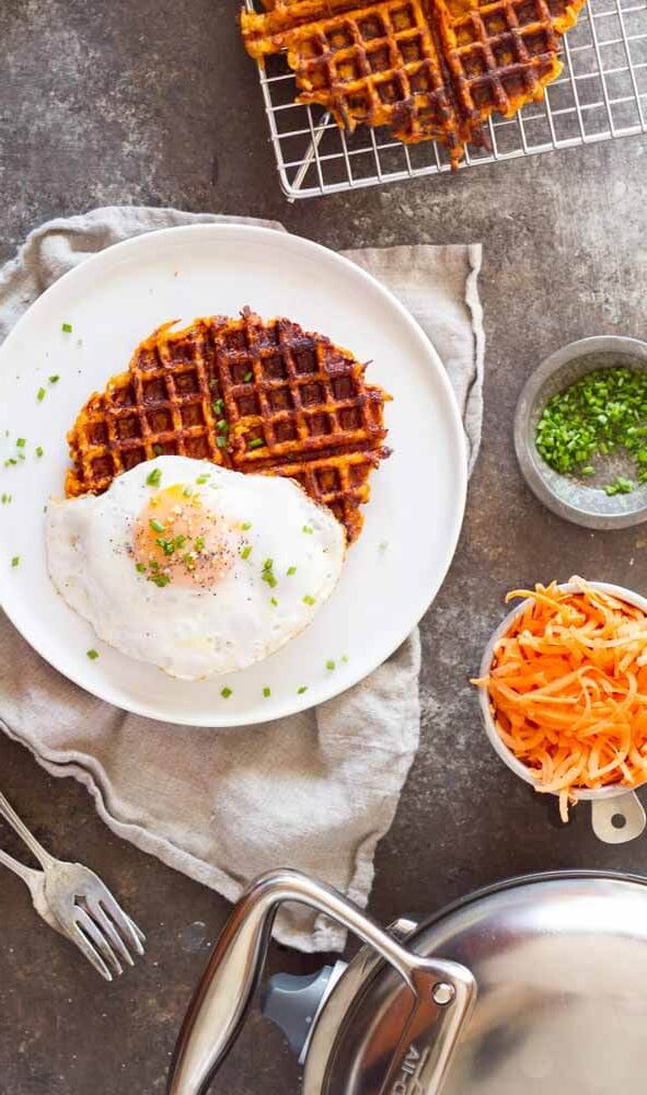 Flourless Savory Sweet Potato Waffles (gluten free, paleo, eggs, chives) ~ www.savorylotus.com