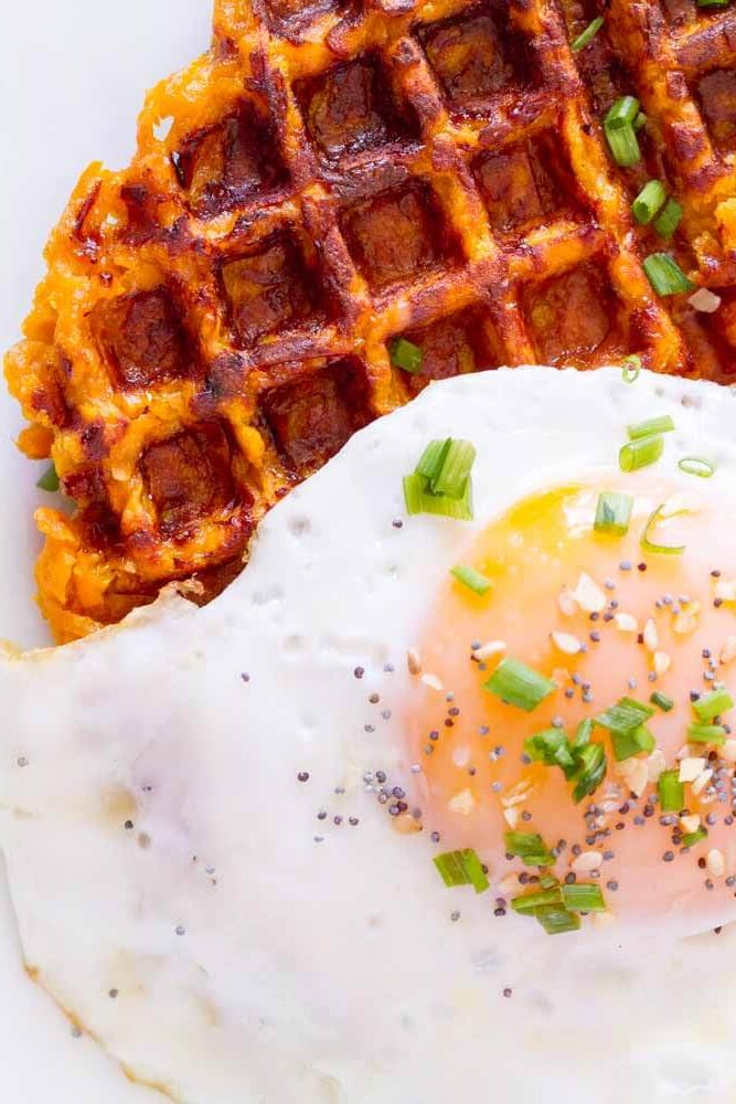 Flourless Savory Sweet Potato Waffles (gluten free, paleo, eggs) ~~~ www.savorylotus.com