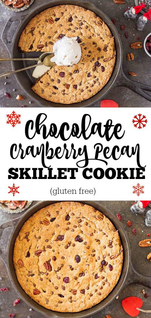 Chocolate Cranberry Pecan Skillet Cookie (gluten free) - www.savorylotus.com