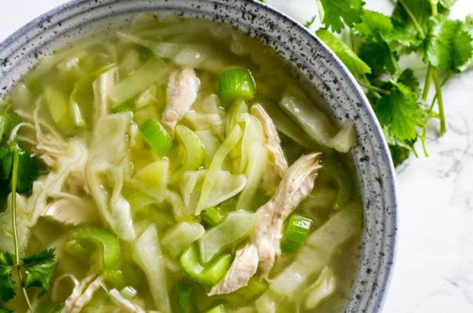Detox Cabbage Soup - cabbage, celery, bone broth, chicken, ginger, garlic
