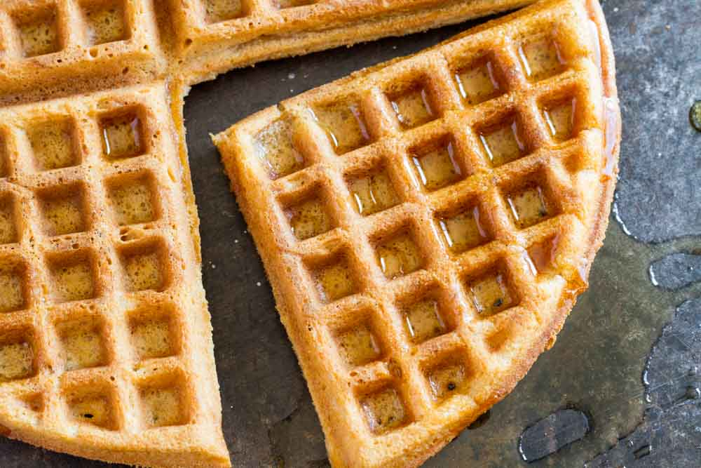 gluten free waffle drizzled with syrup