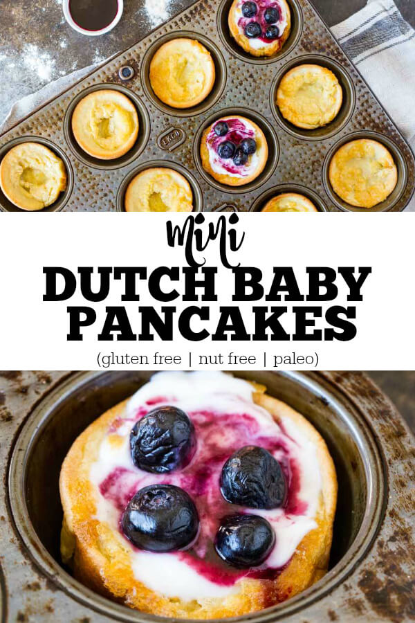 Mini Dutch Baby Pancakes covered in yogurt and blueberries