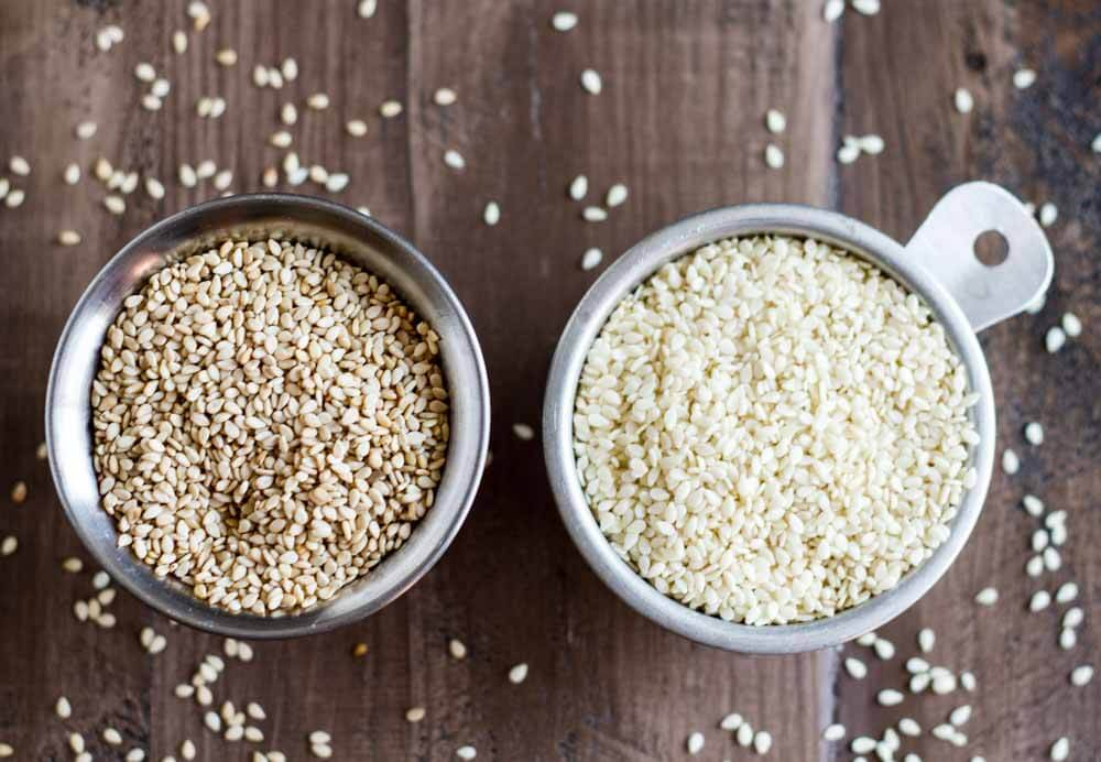 Easy Homemade Tahini Recipe | hulled and unhulled sesame seeds
