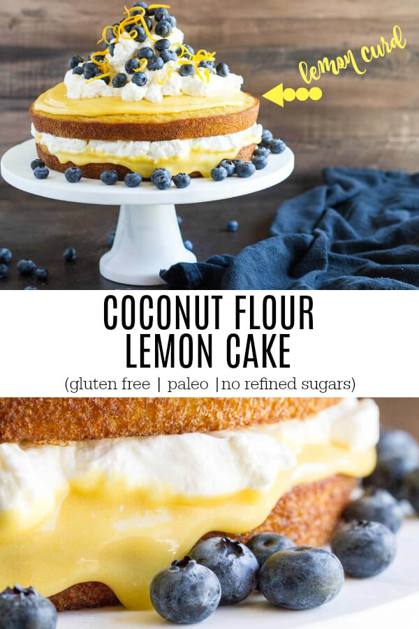Coconut Flour Lemon Cake with cream and blueberries on top
