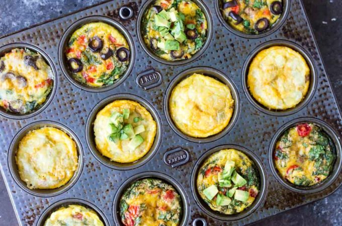 Taco Egg Muffins | www.savorylotus.com (egg muffins in tin)