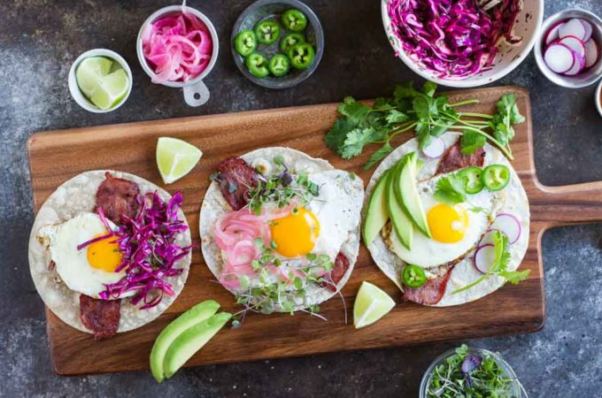 Fried Egg Breakfast Tacos (gluten free and paleo) | www.savorylotus.com