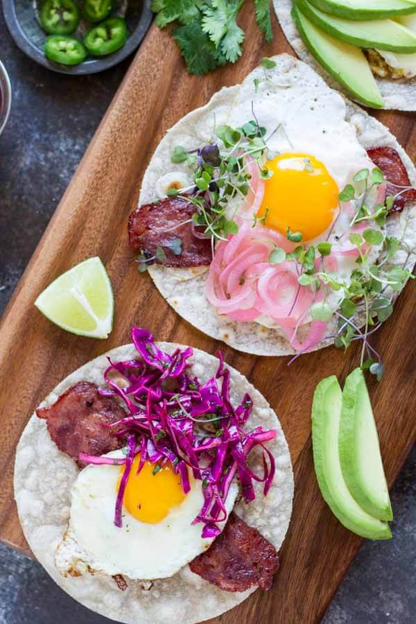 Fried Egg Breakfast Tacos (gluten free and paleo) \\\ www.savorylotus.com