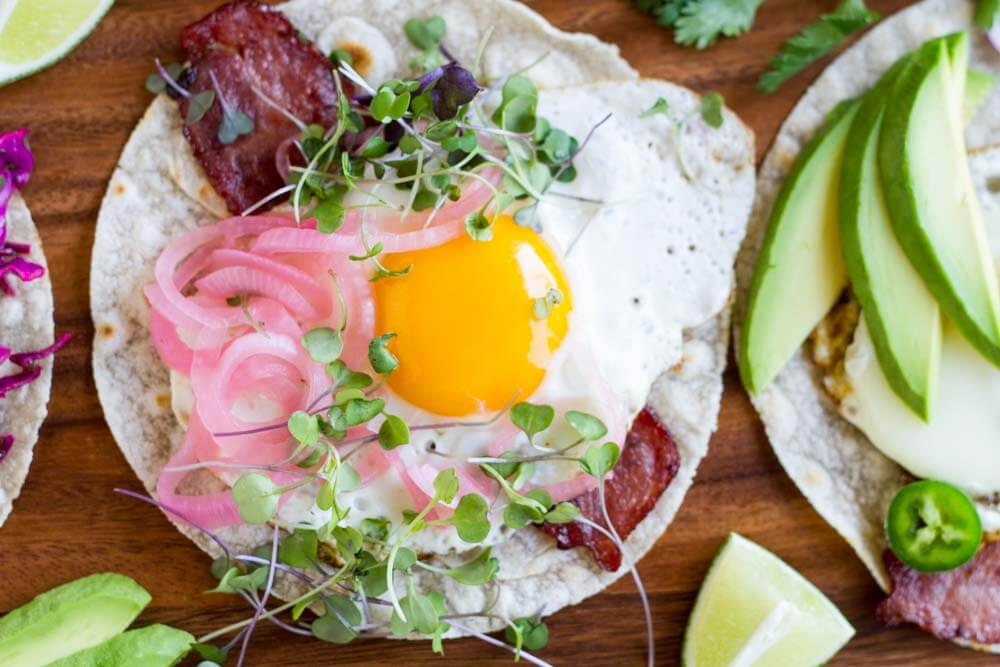 Fried Egg Breakfast Tacos (gluten free and paleo) \\ www.savorylotus.com