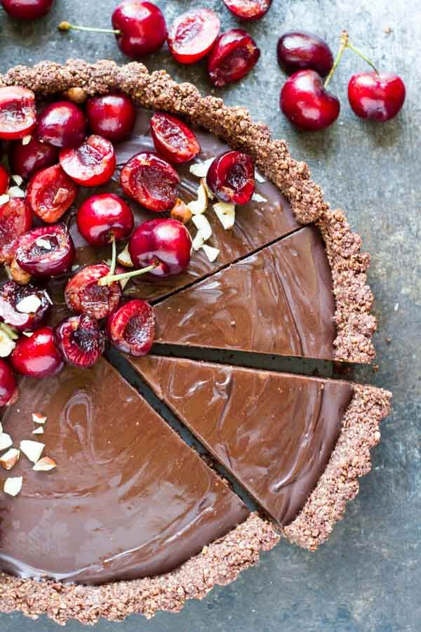 No Bake Chocolate Tart with Fresh Cherries (gluten free, paleo, vegan) ~~~ www.savorylotus.com