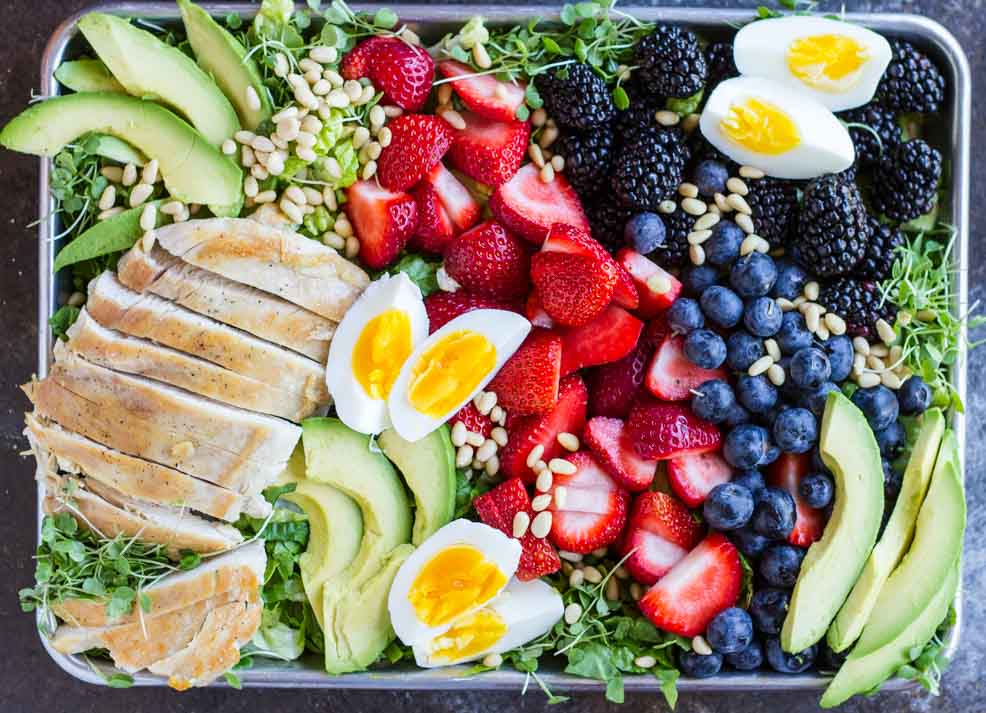 Berry Avocado Chicken Salad with Creamy Poppyseed Dressing \\ www.savorylotus.com