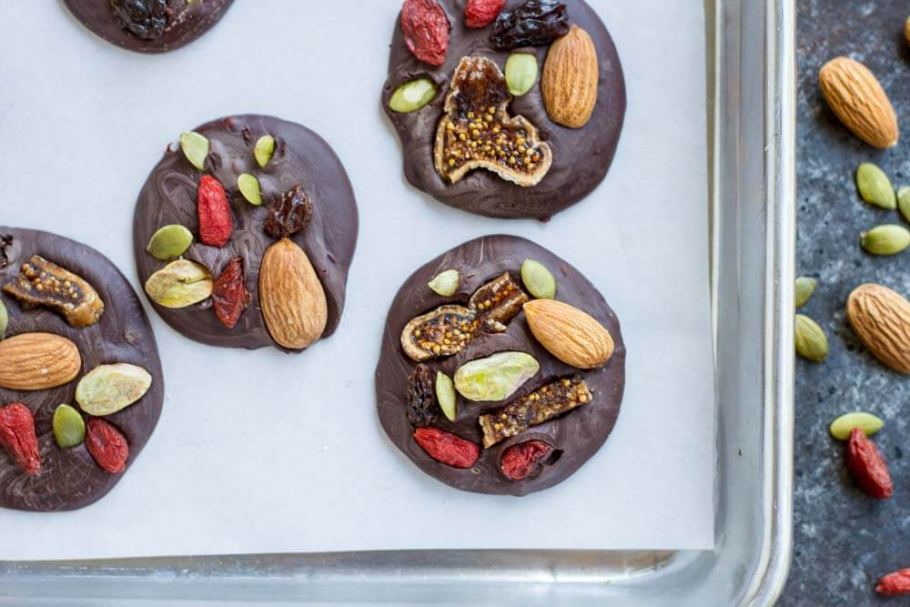 Trail Mix Dark Chocolate Snacks on metal baking tray