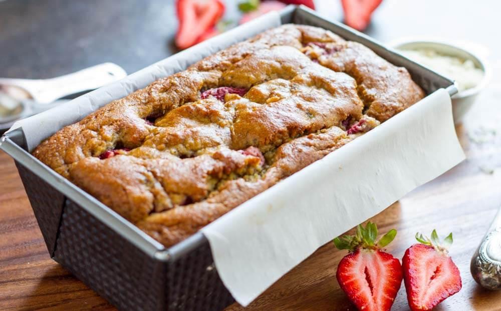Strawberry Banana Bread (gluten free, paleo, sugar free) ~ www.savorylotus.com