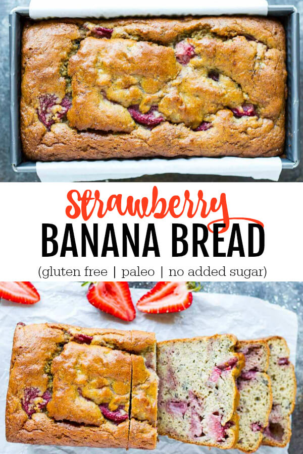 Strawberry Banana Bread in metal loaf pan