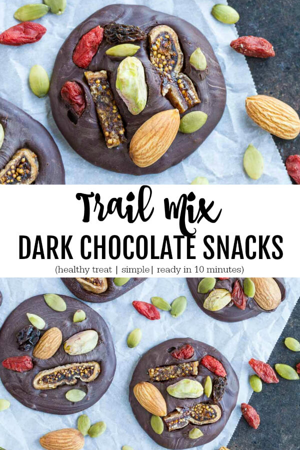 close up of Trail Mix Dark Chocolate Snacks  with almonds and pumpkin seeds