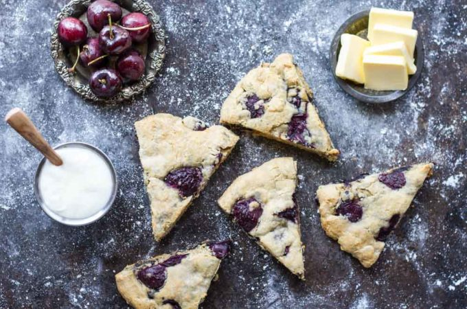 Fresh Cherry Vanilla Scones (gluten free and nut free)