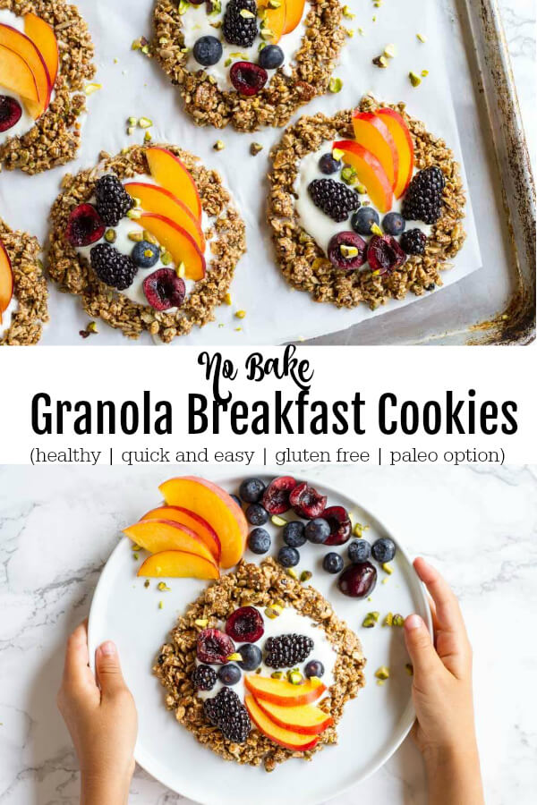 No Bake Granola Breakfast Cookies on white parchment paper