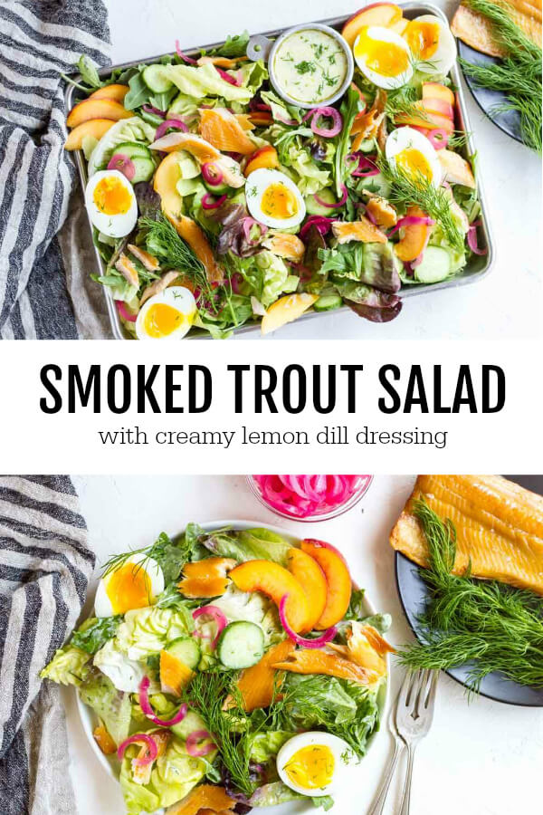 metal tray with Smoked Trout Salad