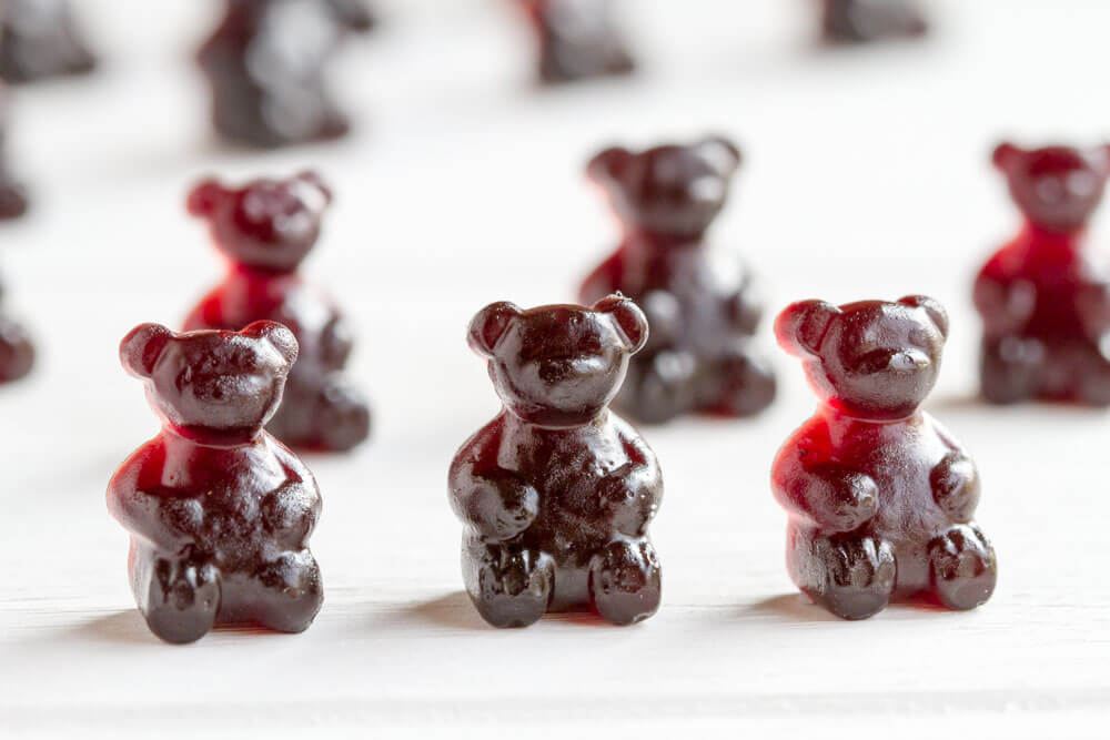 Immune Boosting Elderberry Gummy Bears in a row