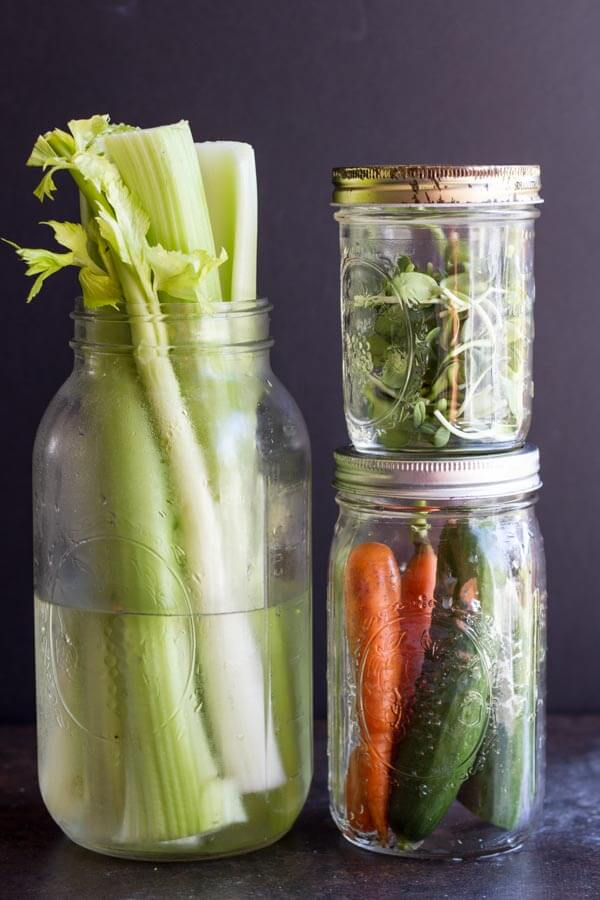 Ways to Use Less Plastic in the Kitchen (produce in glass mason jars)