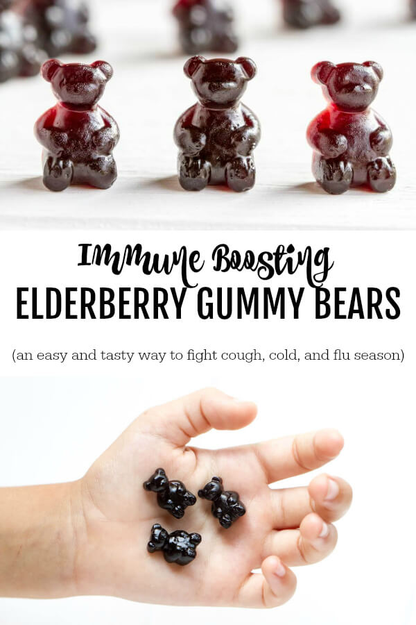 Immune Boosting Elderberry Gummy Bears in a hand