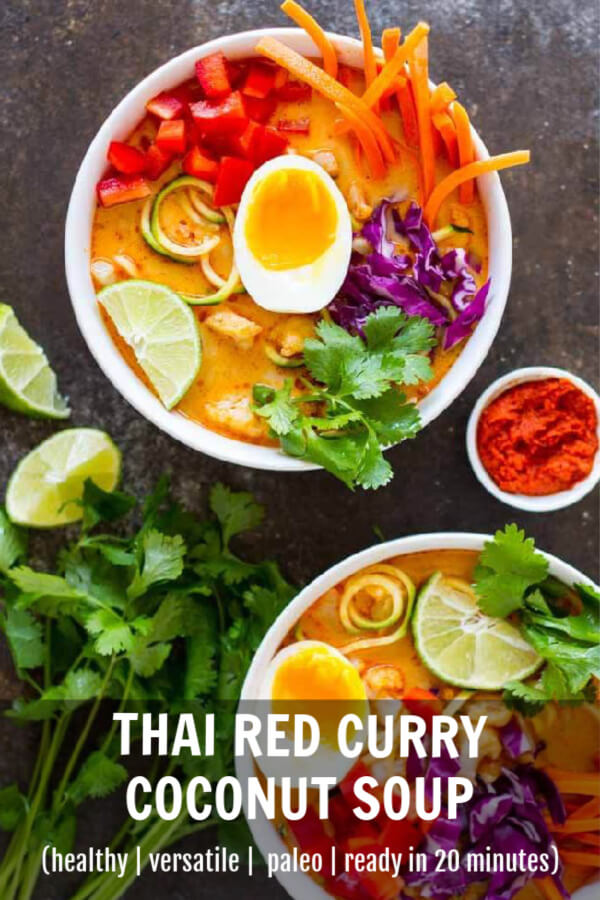 Thai Red Curry Coconut Soup in two white bowls