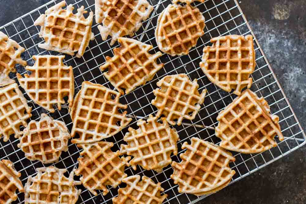 Mini Apple Fritter Waffles on a cooling rack