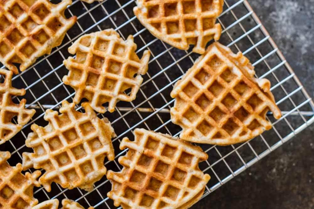 close up of Mini Apple Fritter Waffles