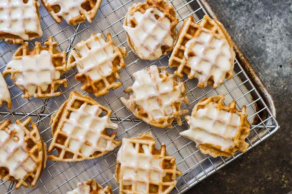 Mini Apple Fritter Waffles with a white glaze on top
