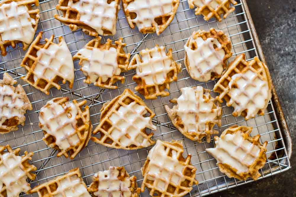 Mini Apple Fritter Waffles (on a metal baking sheet