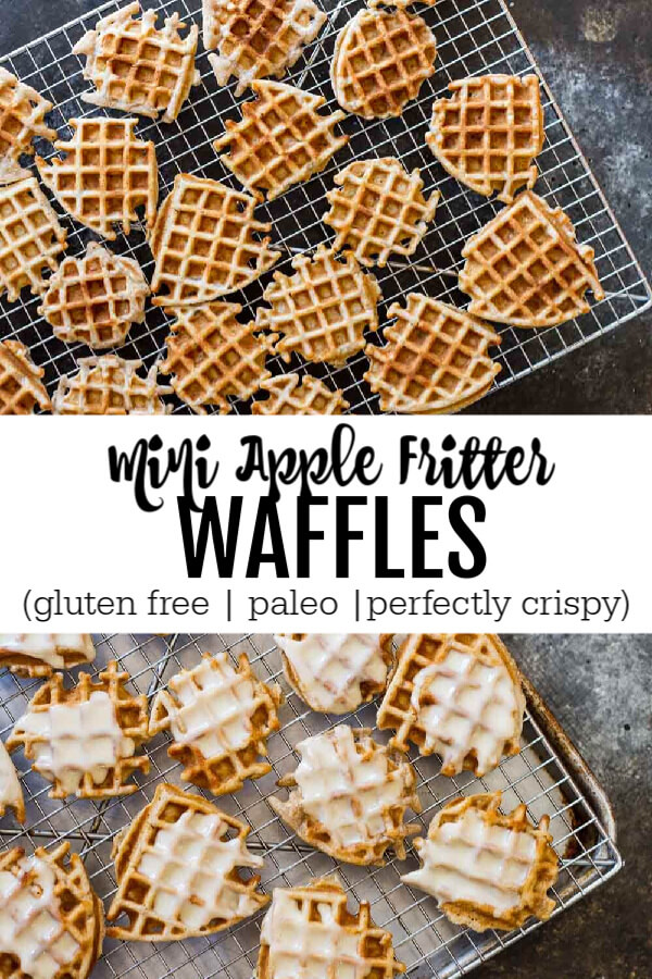 Mini Apple Fritter Waffles on a cooling rack and a baking sheet