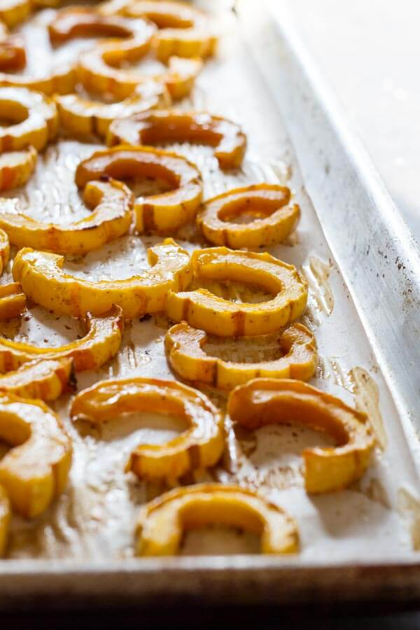 Delicata Squash on baking sheet