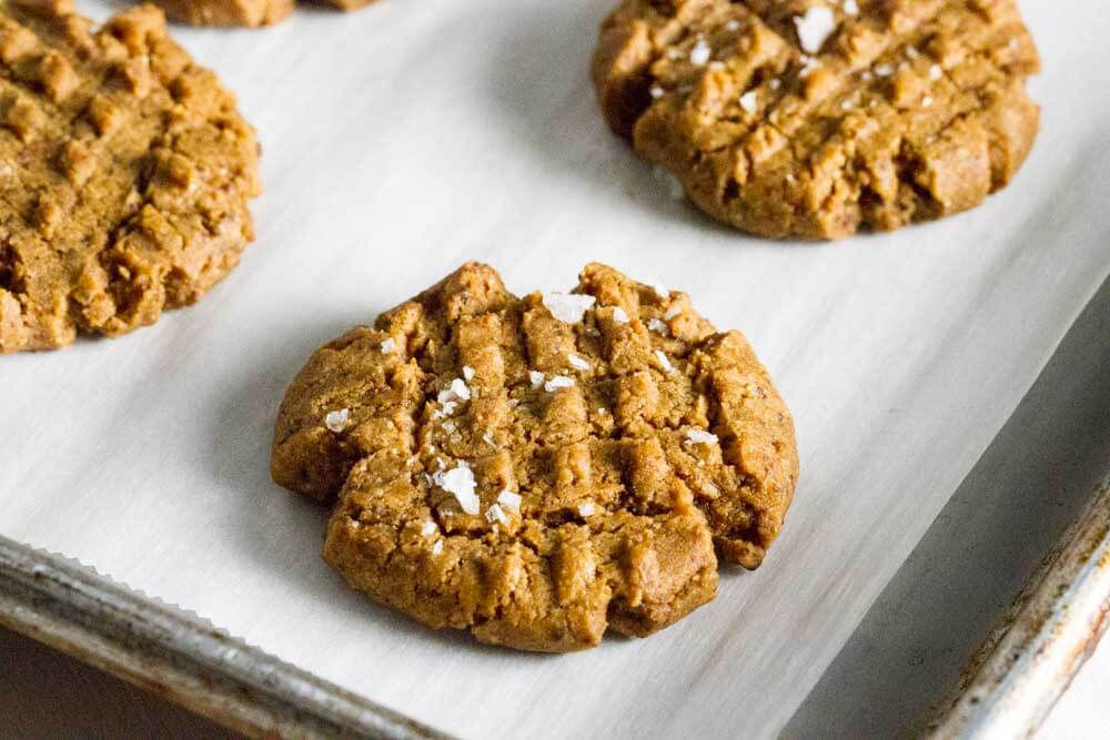 close up of  Flourless peanut Butter Cookie with coarse salt on top