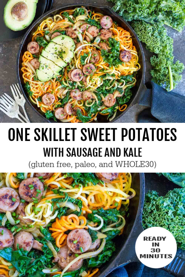 Sweet Potatoes with Sausage and Kale on black cast iron skillet