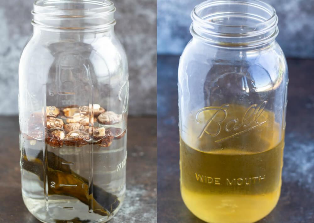 dashi in half gallon mason jars