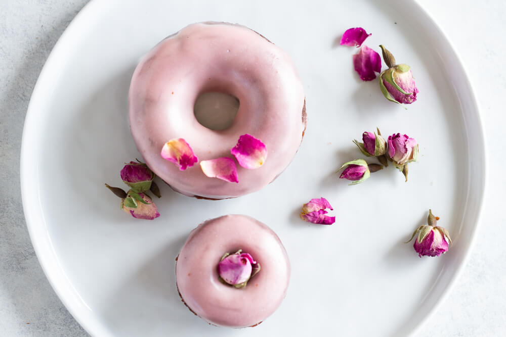 Chocolate Rose Donuts with dried rose petals on top