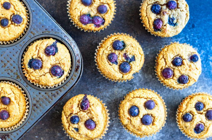 Blueberry Sweet Potato Muffins (gluten free and paleo) | www.savorylotus.com