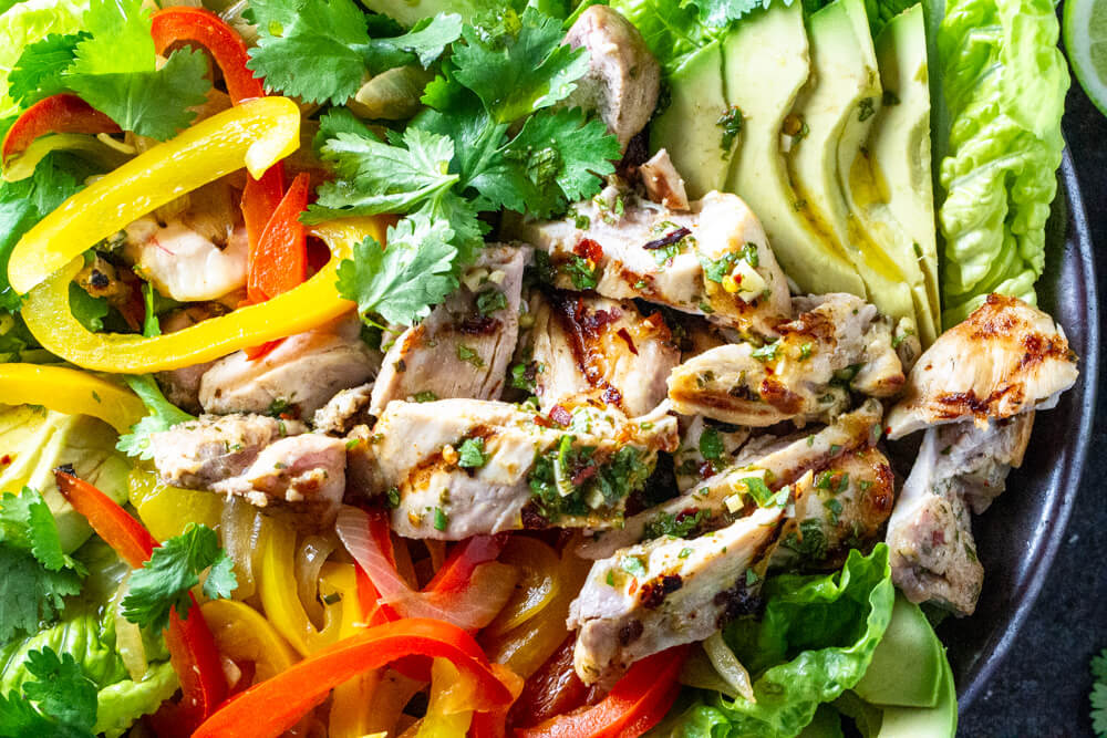 close up of Chicken Fajita Salad