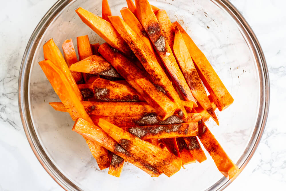 Sweet Potato Fries in glass bowl