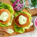 Salmon Burgers with Avocado Aioli ( gluten free and paleo) / www.savorylotus.com