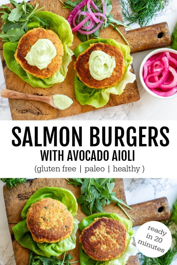 Salmon Burgers with Avocado Aioli and pickled onions