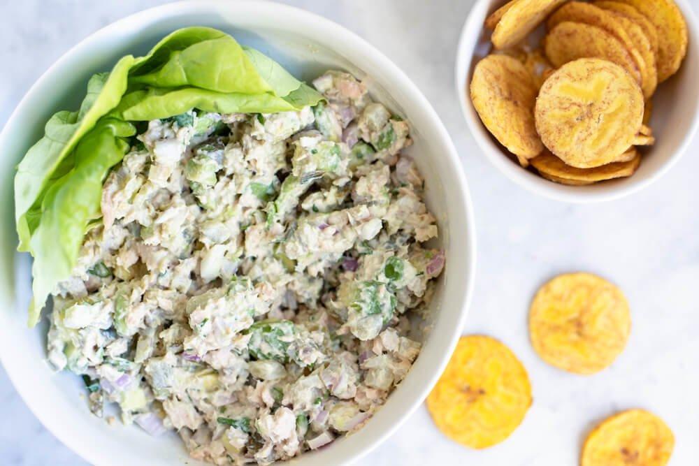 Avocado Salmon Salad on white plate